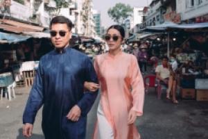 Tăng Thanh Hà diện áo dài sánh bước cùng người mẫu Quang Tuyến